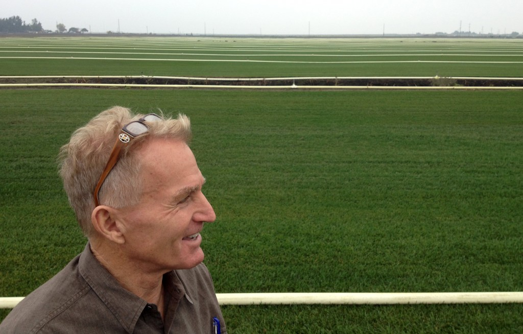 Ed Zuckerman shows off part of the 1,400-acre sod farm he runs in Stockton. He says no-mow and native varieties are a small but growing part of the business. (Daniel Potter/KQED)