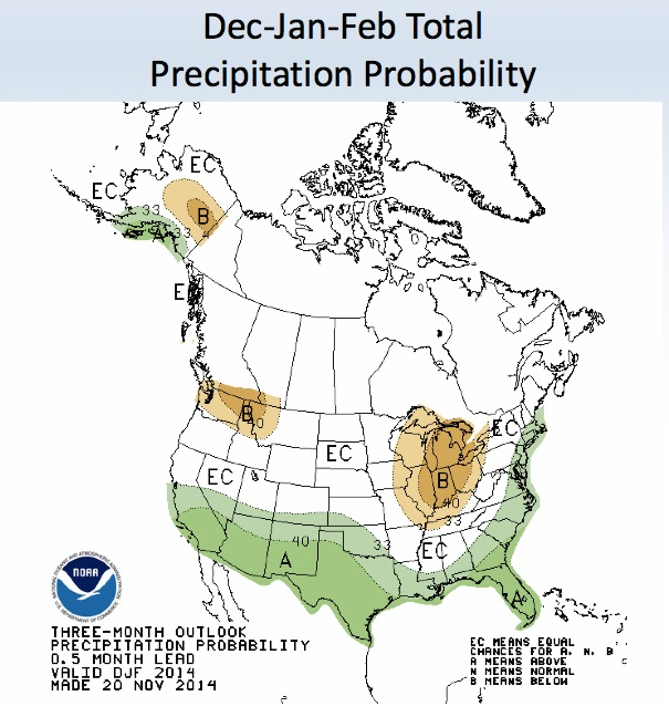 The green areas on the map indicate odds on at least average precipitation over the next three months. (NOAA)