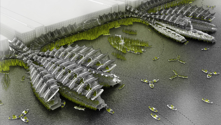 "A rendering of a futuristic, water harvesting building called ""Hydramax"" by Future Cities Lab. (Courtesy of Future Cities Lab)"