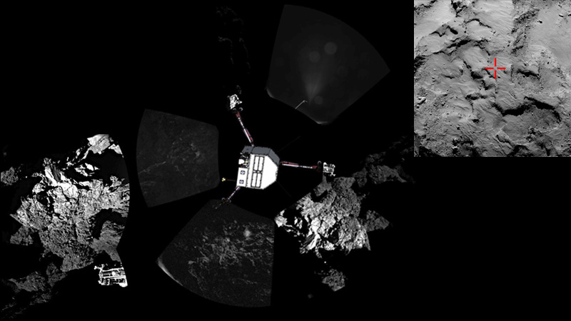 Montage of first image from Philae (left), first panorama (center), and location of the initial landing location. (Rosetta/ESA)
