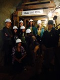 Our tour group pauses on the way into the sandstone mine to  tour the underground workings. (Sharol Nelson-Embry)