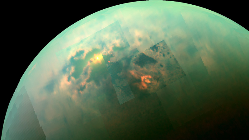 Sunlight reflecting from the liquid surface of Kraken Mare on Saturn's moon Titan. (Cassini/NASA)