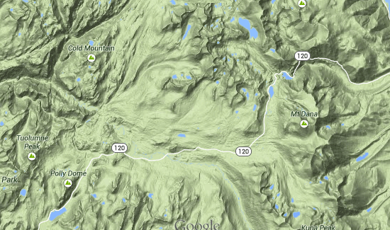 Tuolumne Meadows in Google Maps