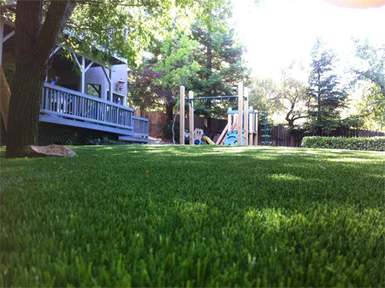 Jason Miller says the drought has more homeowners looking into artificial substitutes like the kind his company installed at this home, but man made turf still faces critiques over how hot it can get and how little it provides in the way of habitat. (Courtesy: Jason Miller)