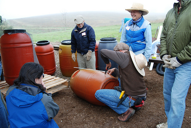 Volunteers for Acterra, an environmental non-profit, install rain barrels at Arastradero nature preserve in Palo Alto. (Acterra)