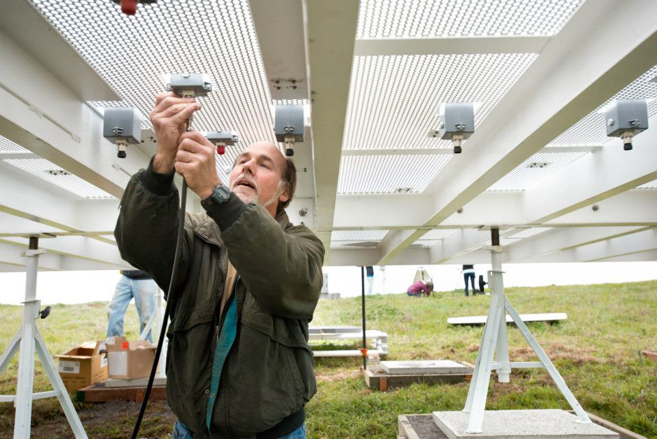 National Oceanic and Atmospheric Administration (NOAA) electronics engineer Tom Ayers conducting an atmospheric river observation at the Bodega Marine Laboratory in Bodega Bay, CA, on March 19, 2013.