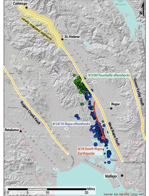The West Napa Valley Fault, including a newly mapped section near Calistoga created by U.C. Davis geology professor Mike Oskin and his class. (Mike Oskin)