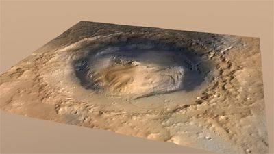 Gale Crater and its central mound of sedimentary rock, Mount Sharp