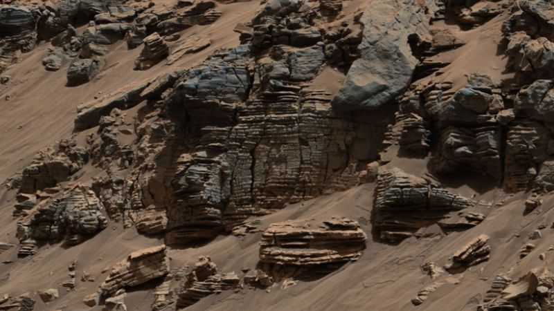 An outcrop of lake bed deposits captured by Curiosity's MastCam in August, 2014