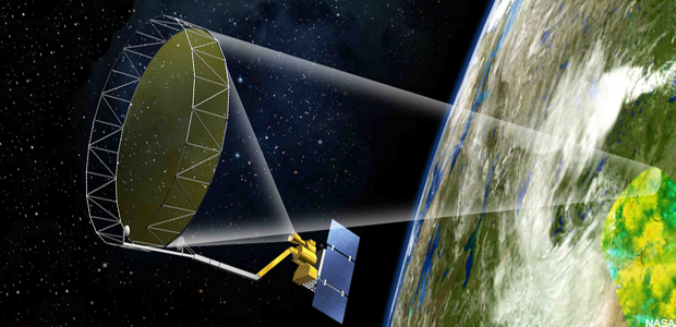 NASA's SMAP satellite will capture microwave radiation from the Earth to measure soil moisture. (NASA)