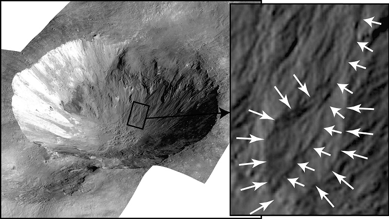 Crater Cornelia on Vesta