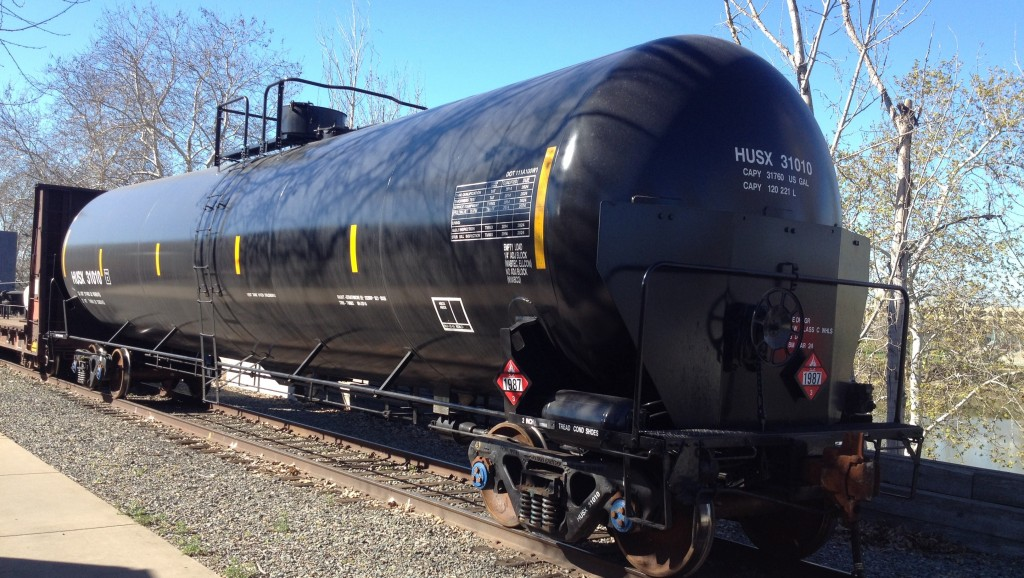 This CPC-1232 tank car represents an upgrade over an older models criticized for being easily punctured, but critics say there's still much to be desired. (Daniel Potter/KQED)