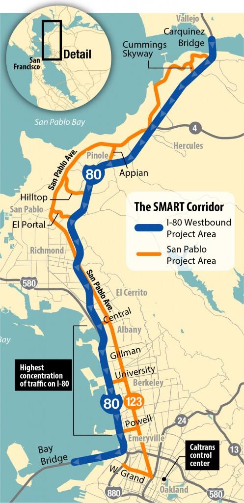 Map of the I-80 SMART Corridor (David Pierce/KQED)
