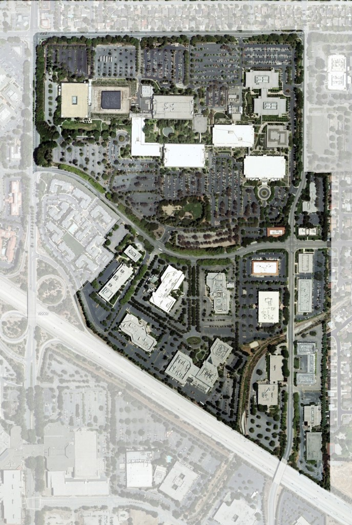 These buildings on the former Hewlett Packard site were ground down for use in the construction of Apple's new campus.