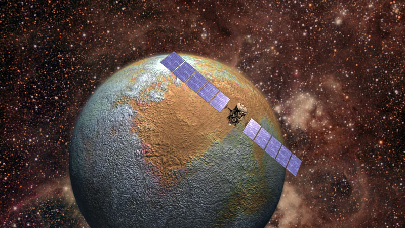 Artist's concept of NASA's Dawn spacecraft at Ceres. (Dawn/NASA)