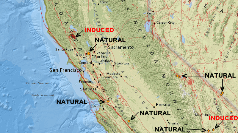 Induced and natural earthqaukes in Calif