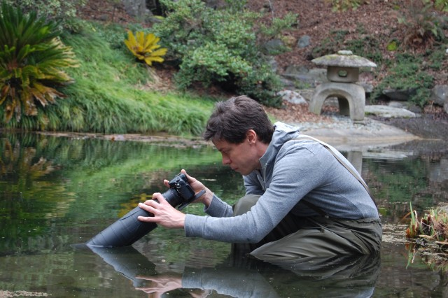 Cameraman Josh Cassidy gets a peek below the pond's peaceful surface