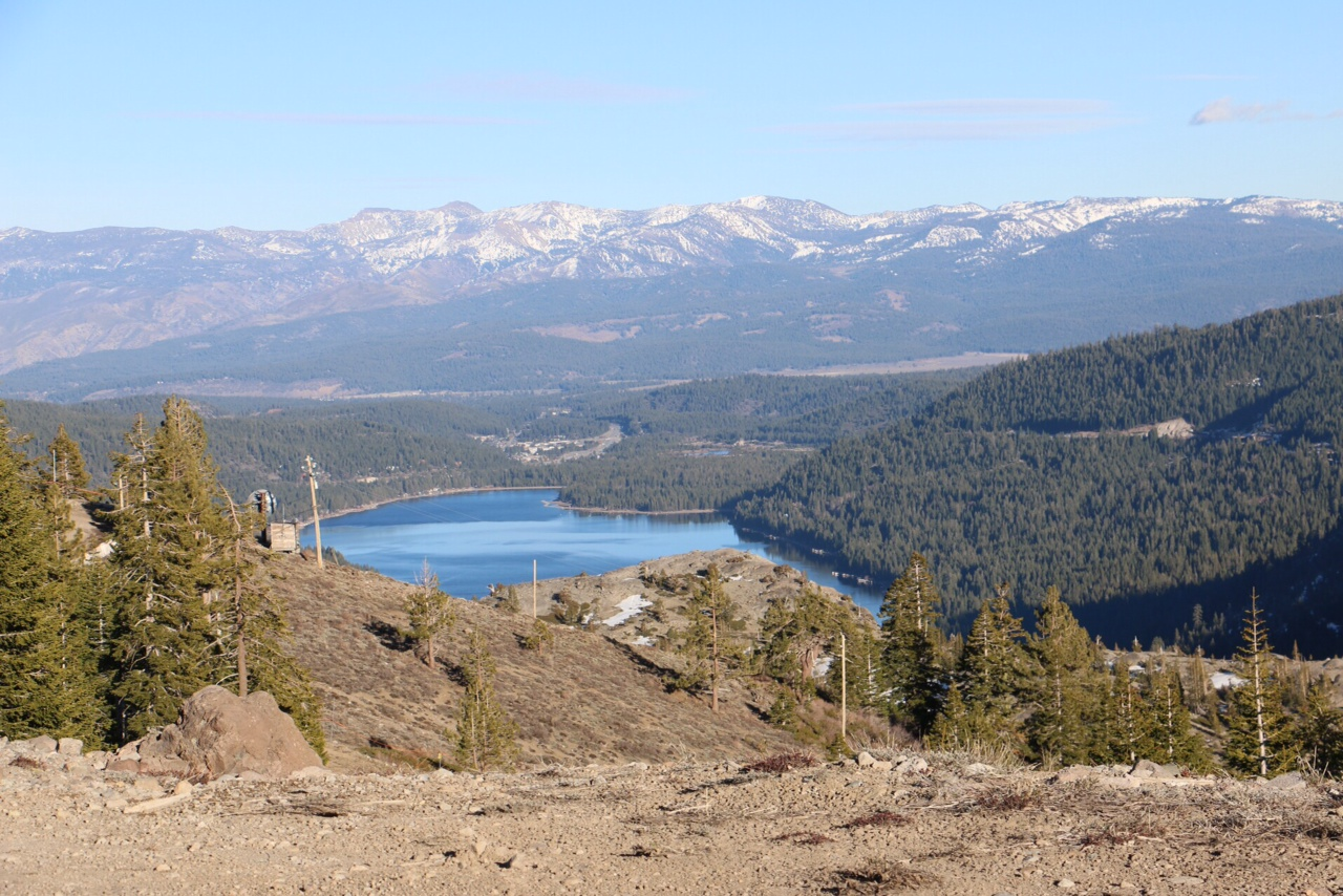Barren mountainsides around Donner Lake in late February. (Joanne Elgart Jennings)