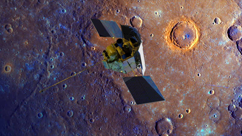 NASA's MESSENGER spacecraft spiraling toward the surface of its 10-year study, planet Mercury. (Johns Hopkins University Applied Physics Laboratory/Carnegie Institute of Washington/NASA)