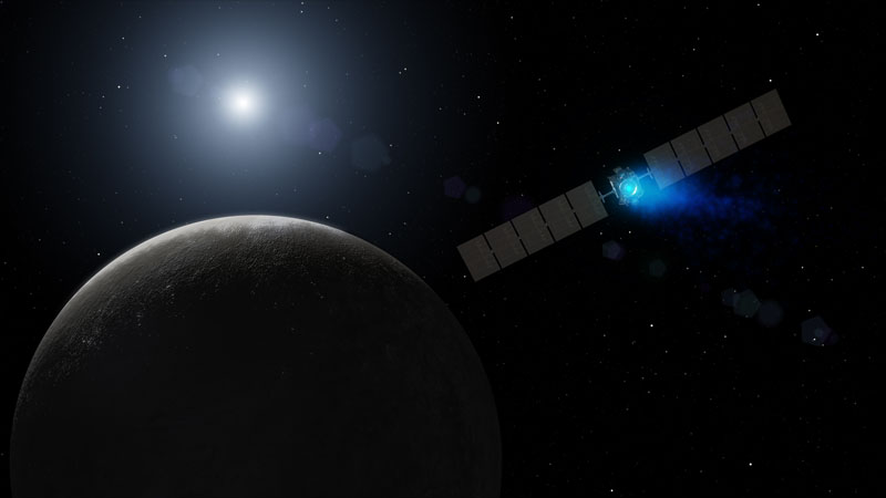 Artist's concept of NASA's Dawn spacecraft arriving at Ceres. (Dawn/NASA)