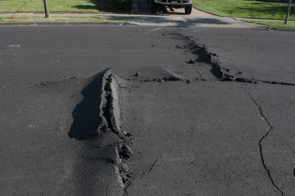 Fault disturbance on a Napa street