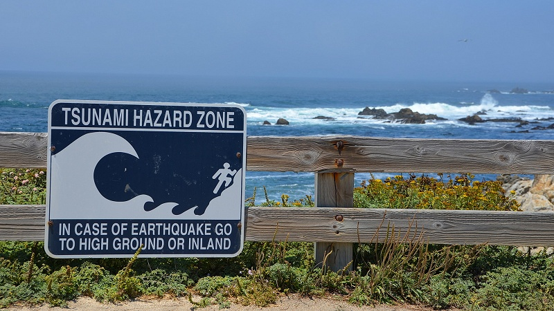 Tsunami hazard zone sign, Pebble Beach