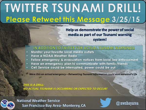 Twitter tsunami drill message