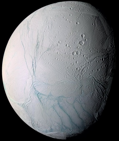 "New research says water below the surface of Saturn's moon Enceladus is near boiling hot. ""It has no excuse for having the degree of geologic activity that we found there,"" says one planetary geologist. (NASA)"