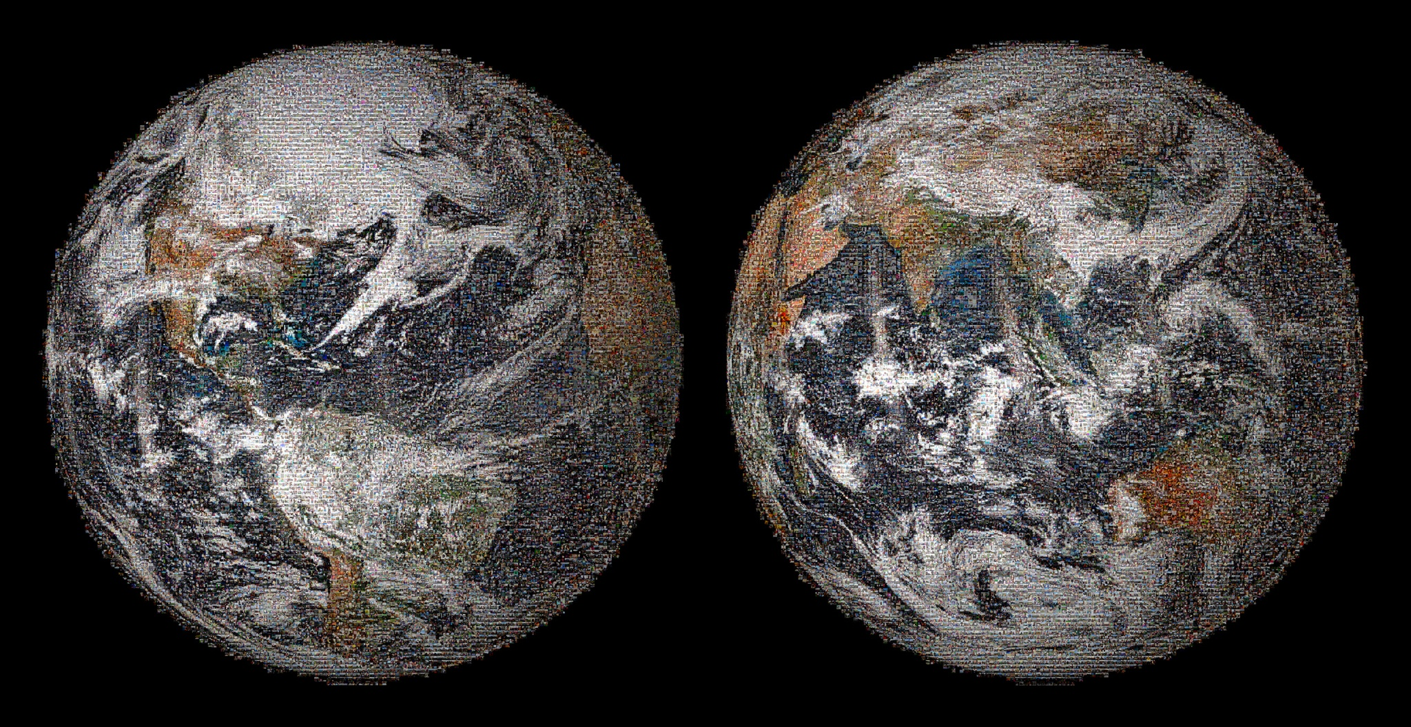 "A ""Global Selfie"" mosaic,  built using more than 36,000 individual photographs drawn from the more than 50,000 images tagged #GlobalSelfie and posted on or around Earth Day, April 22, 2014 on social media. NASA and NOAA"