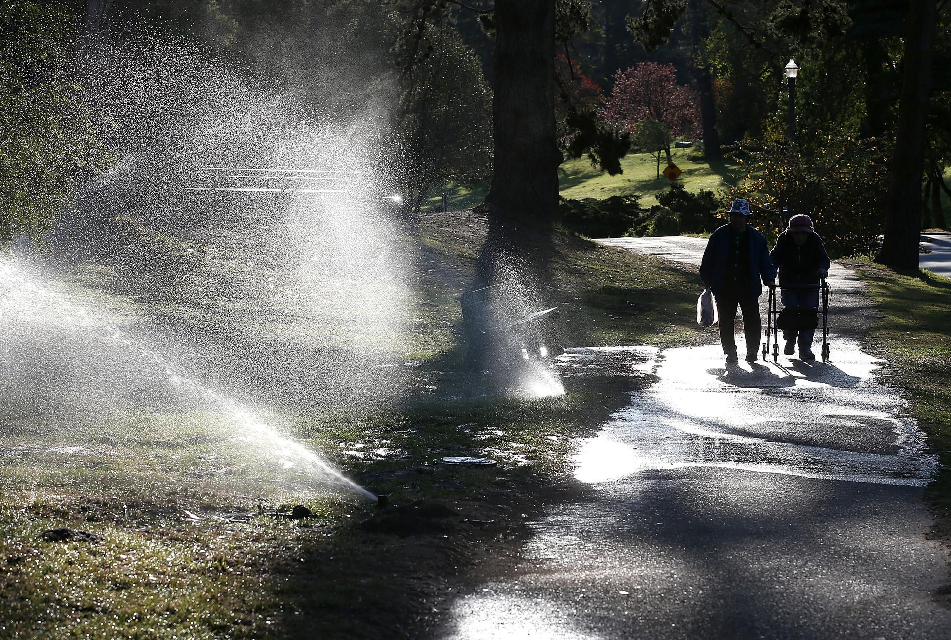 Lawn sprinklers in San Francisco's Golden Gate Park, in April. (Justin Sullivan/Getty Images)