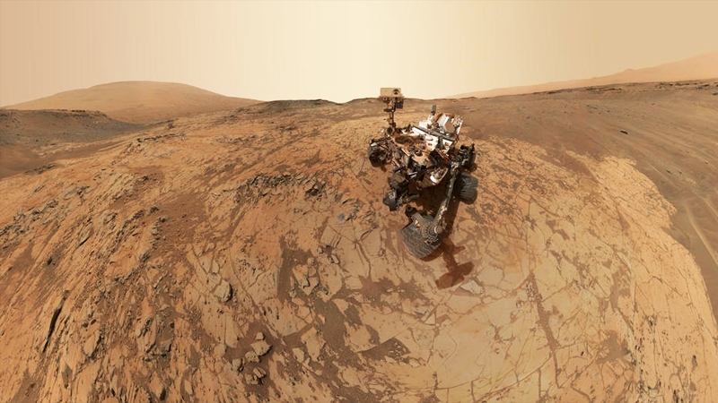 "Curiosity's self-portrait at ""Mojave"" on Mount Sharp. (JPL-Caltech/MSSS/NASA)"
