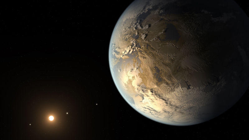 Artist concept of Kepler 186f, an Earth-sized exoplanet within its star's habitable zone. (NASA Ames/SETI Institute/JPL-Caltech)