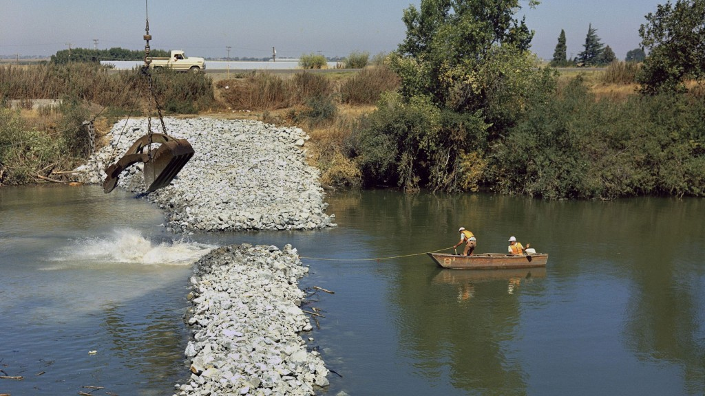 In the summer of 1976, the Department of Water Resources installed an emergency rock barrier in Sutter Slough. (California Department of Water Resources)