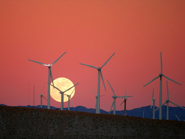 Moon Rise behind the San Gorgonio Pass Wind Farm, 2009. (Chuck Coker/Flickr)