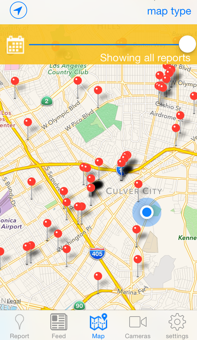 A screen grab from the app VizSafe, where users can report things like fallen branches, potholes, and even water wasters to a geotagged map. (NPR)