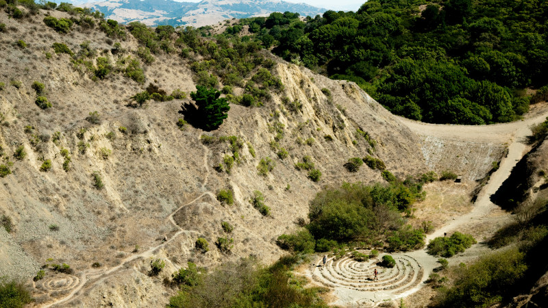 One of the labyrinths at the bottom of the quarry at Round Top volcano.