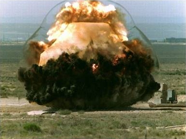 Explosions like this experimental blast in New Mexico helped Lawrence Livermore Lab researchers to calibrate their new method of measuring underground explosions. (Defense Threat Reduction Agency)