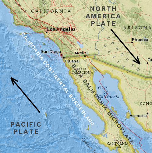 The California Continental Borderland in its larger plate-tectonic setting. (Alden/USGS)