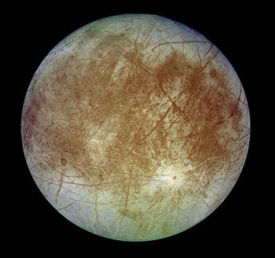 Europa as imaged by NASA's Galileo spacecraft in the early 1990s. (NASA/JPL/DLR)