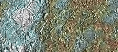 Europa's icy surfaced as imaged by the Galileo spacecraft in the early 1990s. (Artist concept of NASA's proposed Europa mission. (NASA/JPL-Caltech/SETI Institute)