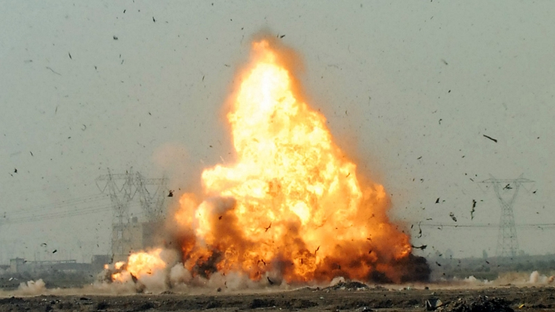 Large explosions, like this one destroying munitions in Iraq, set off vibrations in the ground that can be monitored by seismometers hundreds of miles away. (Defense.gov)