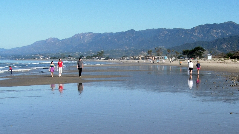 The coastal mountains near Santa Barbara are being raised by tectonic forces that put the area at risk of tsunamis caused by earthquake faults offshore. (Alden/KQED)