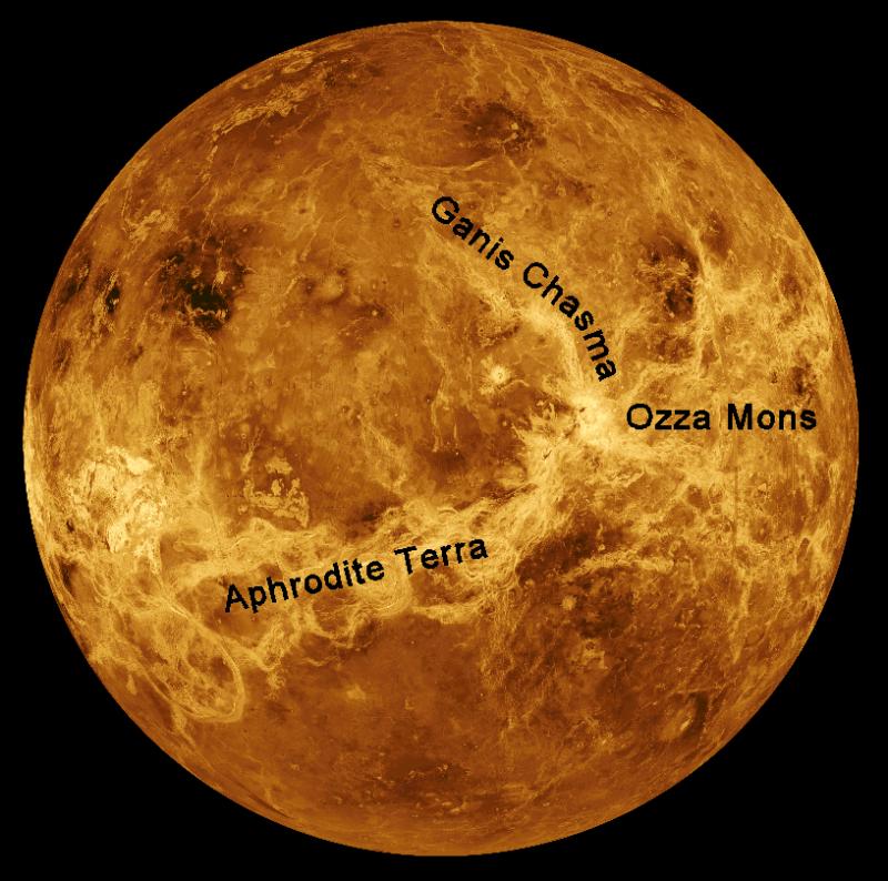 Venus location map