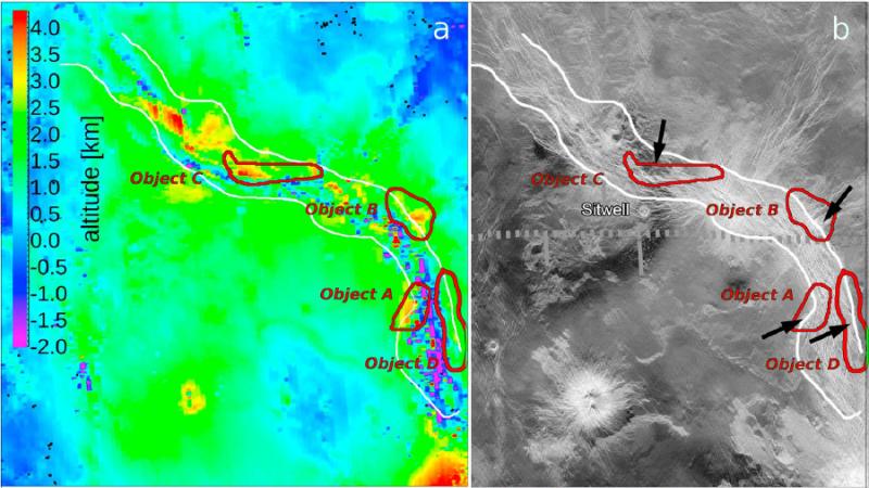 Eruptive hot spots, Ganis Chasma, Venus