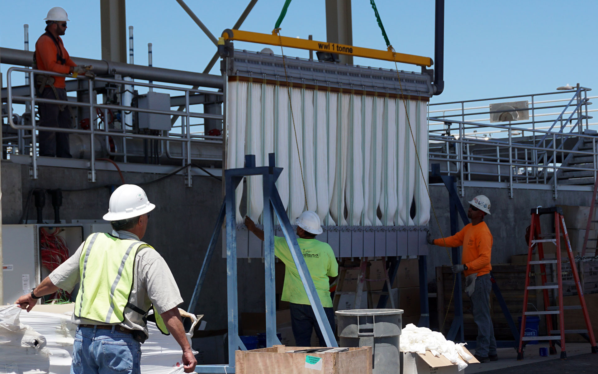 New filtering equipment is installed at the Modesto wastewater treament plant, part of a $150 million upgrade.