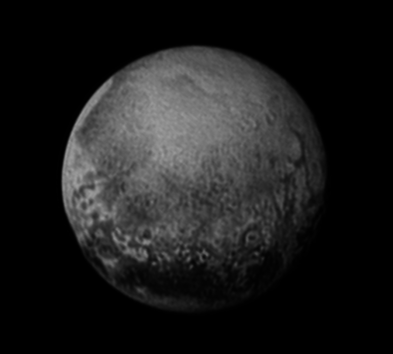 On July 11, NASA's New Horizons captured this image of Pluto, revealing cliffs and what might be an impact crater.