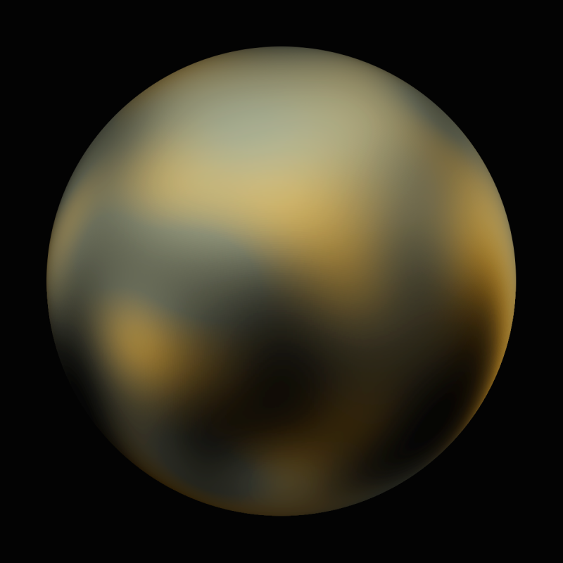 An image of Pluto assembled from photographs taken by the Hubble Space Telescope in 2002 and 2003.