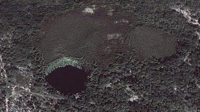 "A ""cenote,"" or sinkhole, in the Yucatan Peninsula in Mexico. (Google Earth)"