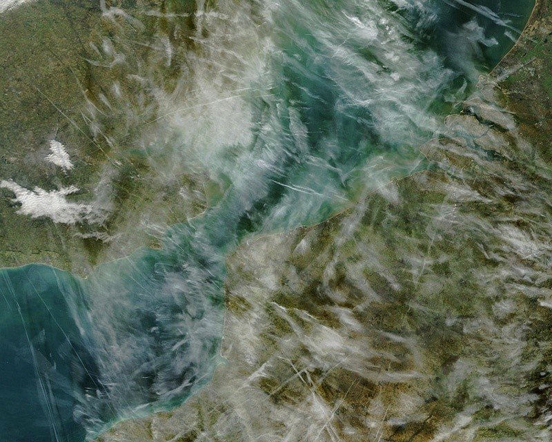 Contrails in a satellite image