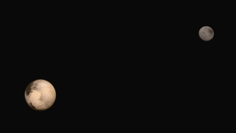 Portrait of Pluto and its large moon Charon. (New Horizons/NASA)